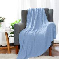 SILANON Cotton Cable Knit Throw Blanket for Couch Sofa Chair Home Decorative,Super Soft Cozy Waffle Knitted Blanket 50 x 70 Inch Blue