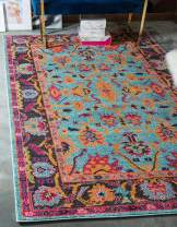 Unique Loom Medici Collection Abstract Botanical Vibrant Colors Light Blue Area Rug (7' 0 x 10' 0)