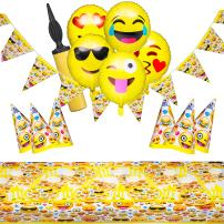 Baketivity Emoji Party Supplies Set with Paper Plates, Cups, Hats, Plastic Forks, Spoons & Knives, Napkins, Banner, Table Cover & Balloons – Upgrade Home Décor, Surprise