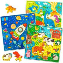 Puzzles for Kids Ages 4-8 – 3 Toddlers Wooden Jigsaw Puzzles for 3-5 Years Old by Quokka - 100 Uniquely Carved Wood Pieces Designed for Your Children's Joy – Gift Toys for Boys and Girl 6 7 yo