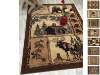 """HR-Cabin Rug–Lodge, Cabin Nature and Animals Area Rug–Modern Geometric Design Cabin Area Rug–Abstract, Multicolor Design– Moose/Bear/Lodge/Nature (7'6"""" x 10'5"""")"""