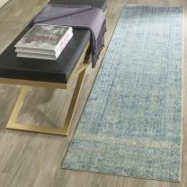 """Safavieh Mystique Collection MYS920G Vintage Watercolor Overdyed Green and Multi Distressed Runner (2'3"""" x 8')"""