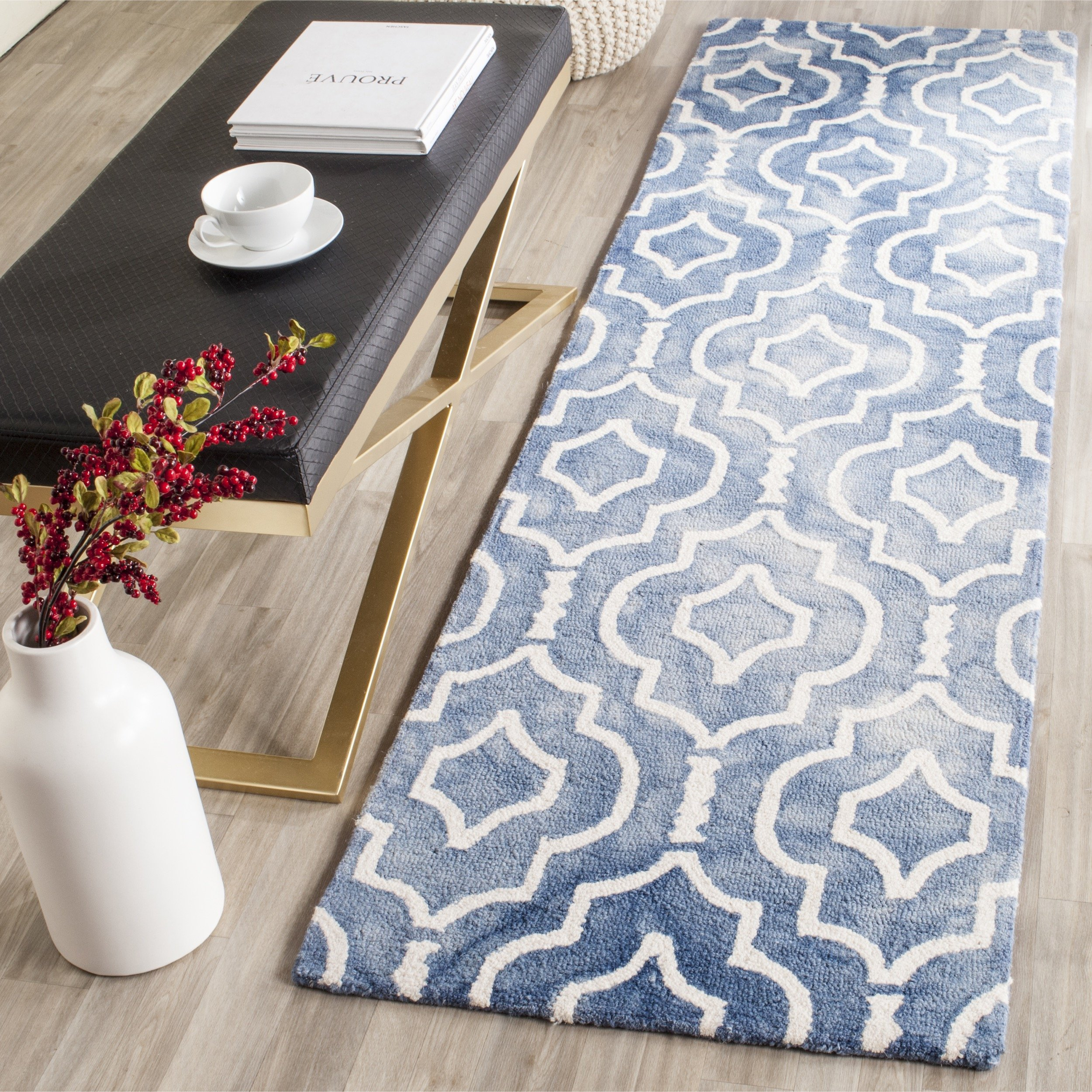 """Safavieh Dip Dye Collection DDY538K Handmade Geometric Moroccan Watercolor Blue and Ivory Wool Runner (2'3"""" x 8')"""