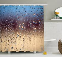 """Ambesonne Rain Shower Curtain, Close up Rain Drops on Glass Natural Sprays Sphere Contrasting Colors Picture, Cloth Fabric Bathroom Decor Set with Hooks, 70"""" Long, Blue Brown"""