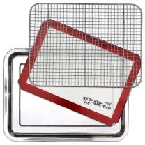 Stainless Steel Sheet Pan 15.5 x 11.5 inch Cooling Rack & Silicone Baking Mat Set - Extra Durable Cookie Sheet, Oven Safe non-toxic Heavy Duty Bake ware. for Roasting Bacon, Vegetables, and Cake.