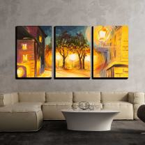 """wall26 - 3 Piece Canvas Wall Art - Oil Painting - Evening Street in Paris, View, European - Modern Home Decor Stretched and Framed Ready to Hang - 16""""x24""""x3 Panels"""