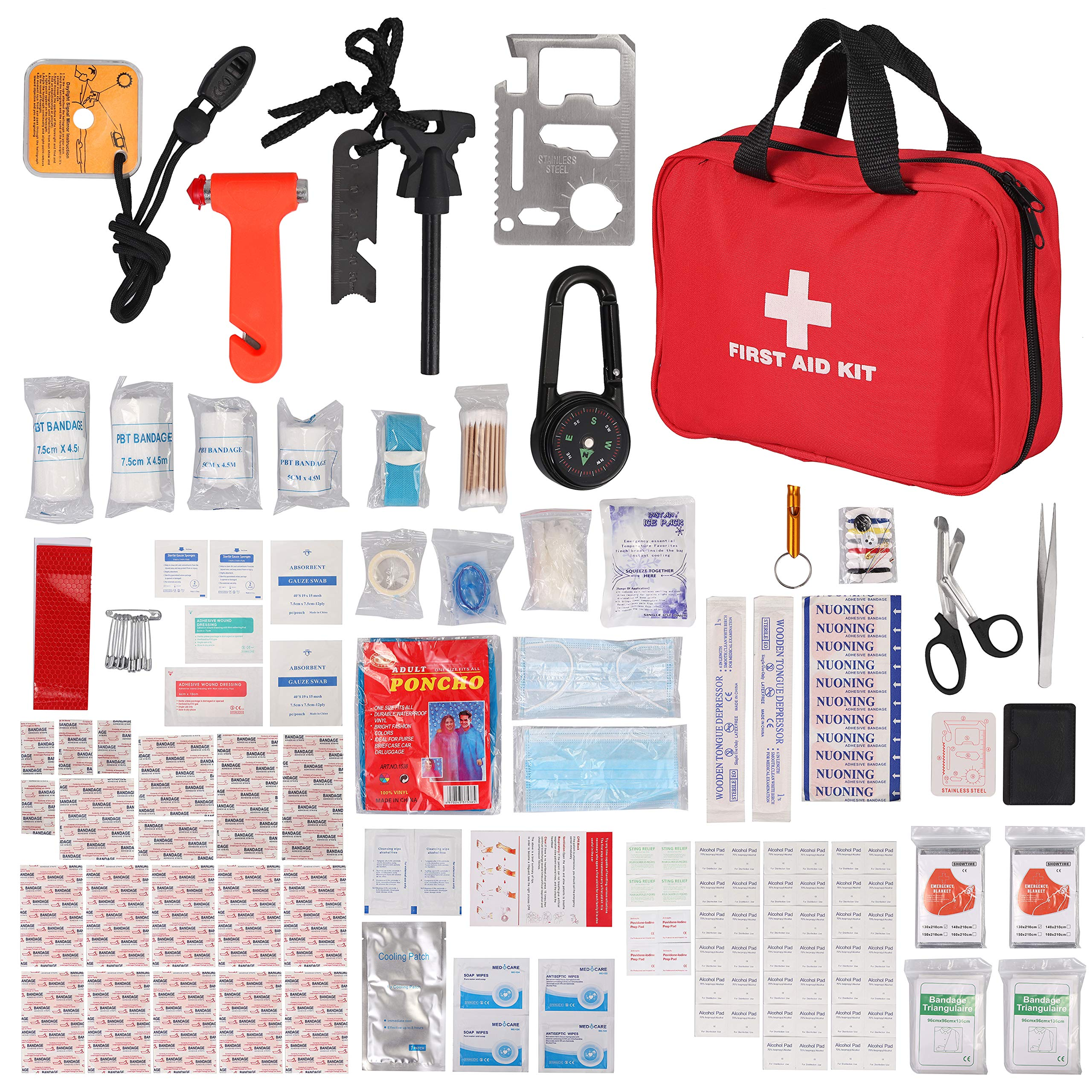 Justech First Aid Kit Upgraded 242PCs Travel Medical Kit Emergency Survival Kit with Thermal Blanket Carabiner Bracelet Compass and More for Home Camping Hiking Travel or Adventures
