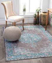 "Well Woven Mareva Machine Washable Teal Blue Vintage Oriental Medallion Area Rug 8x10 (7'7"" x 9'6"")"