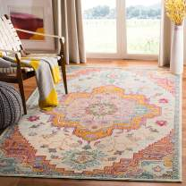 Safavieh Crystal Collection CRS501B Boho Chic Vintage Distressed Area Rug, 4' x 6', Light Blue/Fuchsia