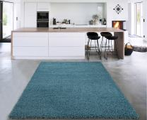 """Sweet Home Stores Cozy Shag Collection Solid Shag Rug Contemporary Living & Bedroom Soft Shaggy Area Rug, 39"""" L x 60"""" W, Turquoise Blue"""