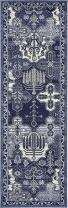 Unique Loom La Jolla Collection Tone-on-Tone Traditional Blue Runner Rug (2' 0 x 6' 0)