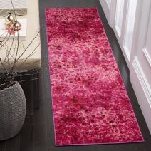 "Safavieh Monaco Collection MNC225F Modern Boho Abstract Watercolor Area Rug, 2' 2"" x 4', Fuchsia"