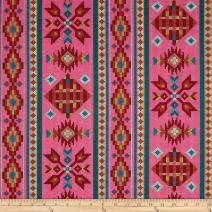 Elizabeth's Studio Tucson Beaded Stripe Pink Fabric by The Yard