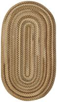 """Capel Rugs Manchester Oval Braided Area Rug, 2 x 3"""", Beige Hues"""