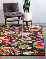 Unique Loom Estrella Collection Colorful Abstract Brown Area Rug (9' 0 x 12' 0)