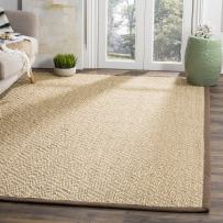 Safavieh Natural Fiber Collection NF154A Natural and Brown Area Rug, 4' x 6'