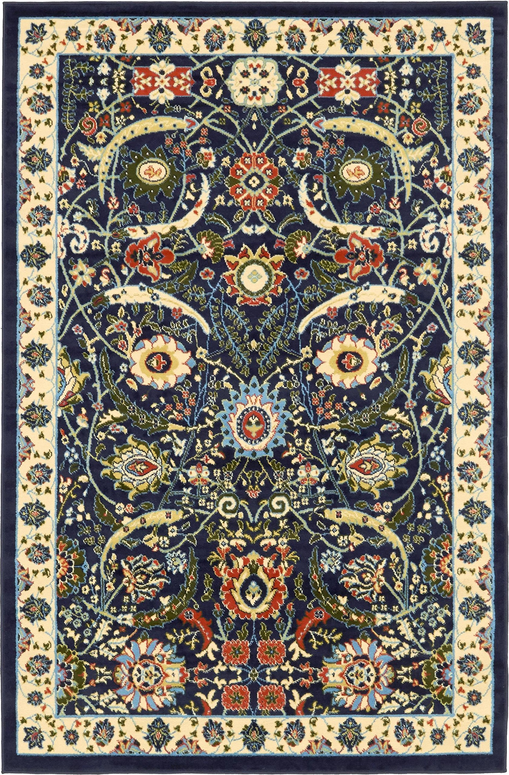 Unique Loom Espahan Collection Classic Traditional Navy Blue Area Rug (5' 0 x 8' 0)