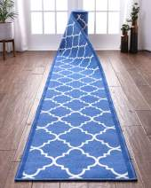 "Custom Size 22"" Wide By Select Your Runner Length Non-Slip Rubber Backed Machine Washable Hall Rug Dallas Moroccan Trellis Blue Geometric Thin Low Pile Indoor Outdoor Kitchen Entry 22""x15' Runner"