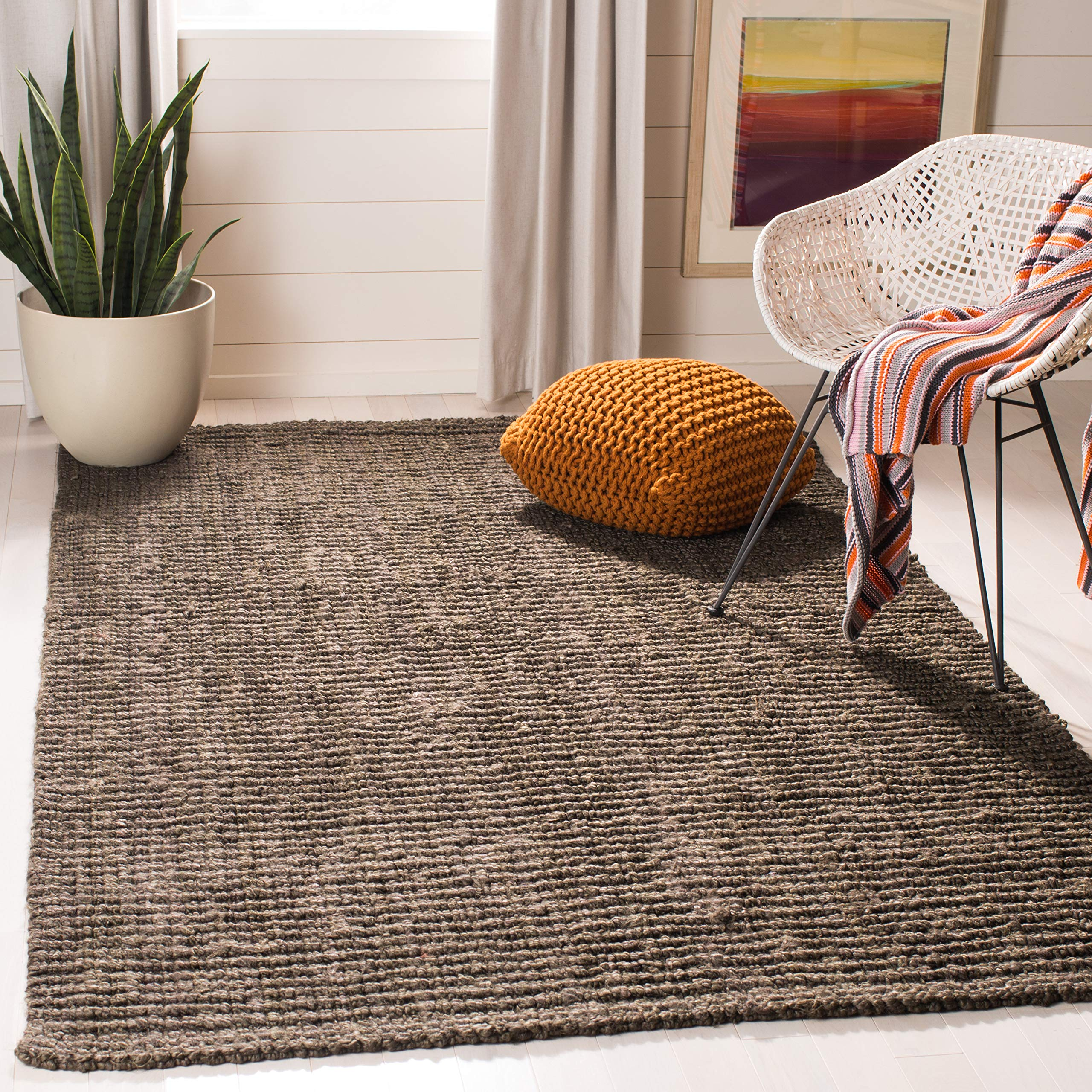 Safavieh Natural Fiber Collection NF447D Hand-woven Chunky Textured Jute Area Rug, 8' Square, Brown