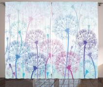"""Ambesonne Dandelion Curtains, Watercolor Abstract Floral Arrangement with Botany Inspirations Nature, Living Room Bedroom Window Drapes 2 Panel Set, 108"""" X 63"""", Blue Pink"""