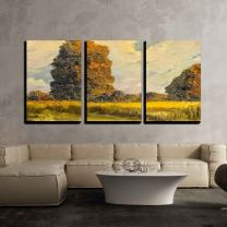 """wall26 - 3 Piece Canvas Wall Art - Beautiful Original Landscape Oil on Canvas Painting - Modern Home Decor Stretched and Framed Ready to Hang - 16""""x24""""x3 Panels"""