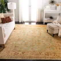 Safavieh Oushak Collection OSH112A Hand-Knotted Soft Green and Rust Wool Area Rug (4' x 6')
