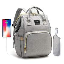 POFUNUO Diaper Bag Multi-Function Waterproof Nappy Travel Backpack for Baby Care with Stroller Hooks (Gray)