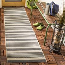 """Safavieh Courtyard Collection CY6062-236 Indoor/ Outdoor Runner, 2' 3"""" x 8', Grey/Bone"""