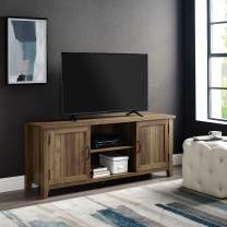 """Walker Edison Modern Farmhouse Grooved Wood Stand with Cabinet Doors for TV's up to 65"""" Living Room Storage Shelves Entertainment Center, 58 Inch, Reclaimed Barnwood"""