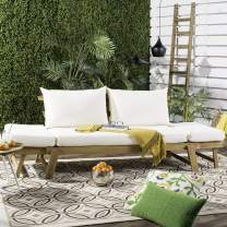 Safavieh PAT6745B Outdoor Collection Tandra Teak Modern Contemporary Daybed Day Bed, Natural/Beige