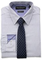 Nick Graham Men's Fine Line Stripe Dress Shirt with Geo Dot Tie Set