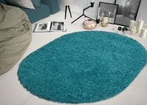 """Sweet Home Stores Shaggy Rug, 5'3"""" x 7'0"""" Oval, Turquoise"""