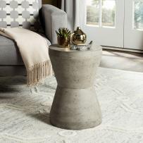 Safavieh Outdoor Collection Torre Modern Concrete Dark Grey 17.3-inch Accent Table