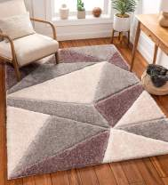 """Well Woven Walker Purple Triangle Boxes Thick Soft Plush 3D Textured Shag Area Rug 4x6 (3'11"""" x 5'3"""")"""
