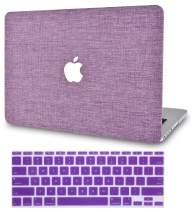 """KECC Laptop Case for Old MacBook Pro 13"""" Retina (-2015) w/Keyboard Cover Plastic Hard Shell Case A1502/A1425 2 in 1 Bundle (Purple Fabric)"""