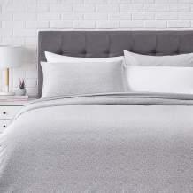 AmazonBasics Super-Soft Cotton Duvet Comforter Cover Set - Full/Queen, Grey Dots