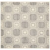 Safavieh Precious Collection PRE153G Handmade Silver Polyester Square Area Rug (5' Square)