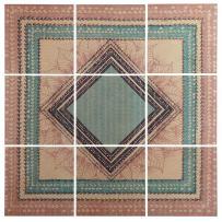 "Stone & Beam Modern 9-Piece Green and Brown Geometric Print Wall Art Mural on Wood, 60"" x 60"""