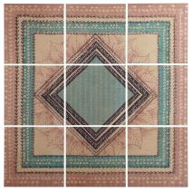 "Stone & Beam Modern 9-Piece Green and Brown Geometric Print Wall Art Mural on Wood, 60"" x 60"""