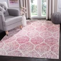 "Safavieh Madison Collection MAD604R Geometric Ogee Trellis Distressed Area Rug, 6' 7"" Square, Cream/Fuchsia"