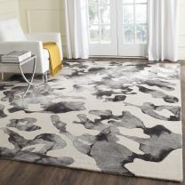 Safavieh Dip Dye Collection DDY517E Handmade Modern Abstract Watercolor Beige and Charcoal Wool Square Area Rug (7' Square)