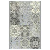 Maples Rugs Vintage Patchwork Distressed 2'6 x 3'10 Non Skid Washable Throw Rugs [Made in USA] for Entryway and Bedroom, Teal