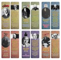 Creanoso Famous Historical Americans Industrialists Facts Bookmarks (12-Pack) – Unique Learning Facts Rewards Cards – Awesome Educational Stocking Stuffers Gift Bookmarks for Students, Boys, Girls