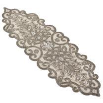 "SARO LIFESTYLE Beaded Scroll Motif Design Table Runner, 12"" x 38"", Silver"