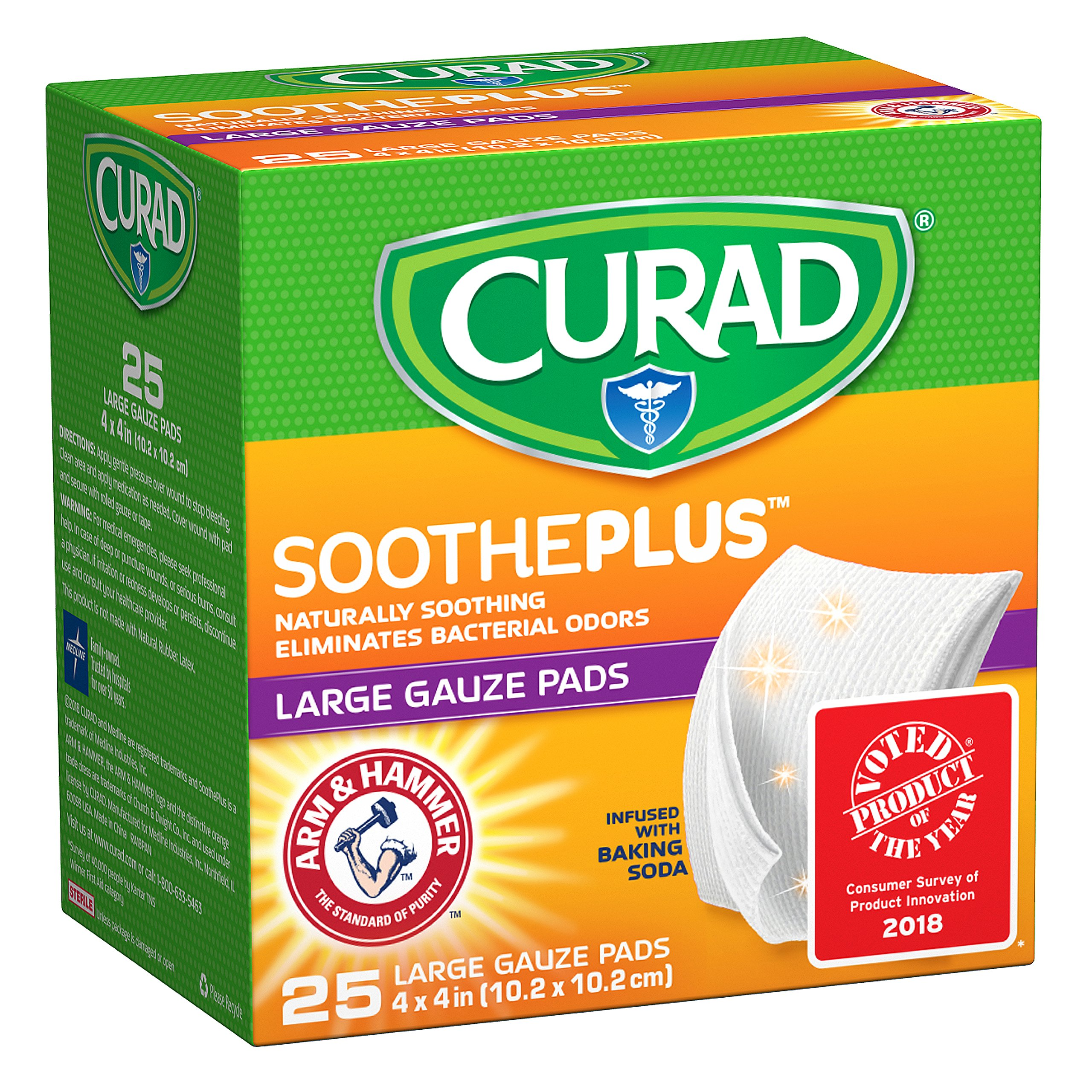 """CURAD SoothePLUS Gauze Pads with ARM & Hammer Baking Soda, 4"""" x 4"""", 25 Count"""