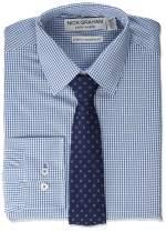 Nick Graham Men's Stretch Modern Fit Gingham Dress Shirt and Dot Tie Set