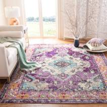Safavieh Monaco Collection MNC243L Boho Chic Medallion Distressed Area Rug, 8' x 10', Violet/Light Blue