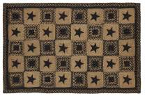 IHF Home Decor Braided Rug Country Star Black Design 4'x6' Rectangle Carpet Jute Material