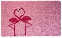 "Entryways Flamingo Handmade, Hand-Stenciled, All-Natural Coconut Fiber Coir Doormat, 18"" X 30"" X .75"""