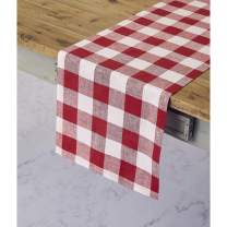 Solino Home 100% Pure Linen Buffalo Check Table Runner – 14 x 108 Inch Red & White Checks Table Runner Natural Fabric Handcrafted from European Flax